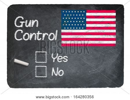 Gun Control voting choice message written on a chalky natural slate blackboard with yes no checkbox and chalk