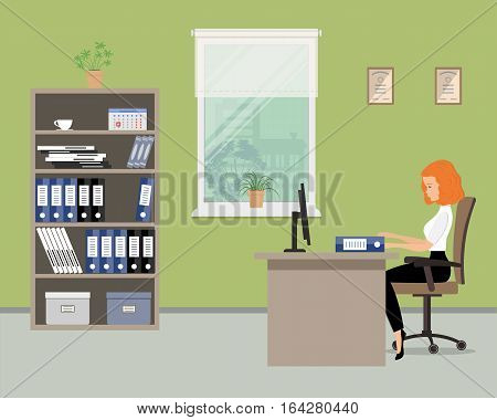 Web banner of an office worker in the green room near the window. The young woman is an employee at work. There is a beige furniture, chair, case with folders in the picture. Vector flat illustration