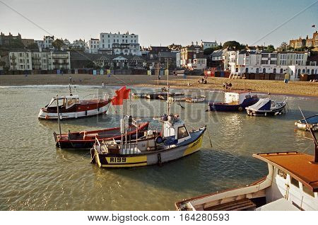 UK Broadstairs -- 09/2002 -- Boats moored in the harbour in Broadstairs Kent England UK.