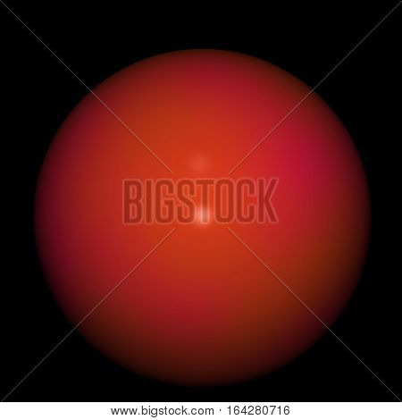 red glossy sphere, isolated on the black