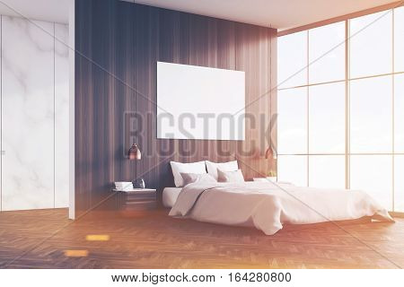 Side View Of Bedroom: Double Bed And Poster, Toned