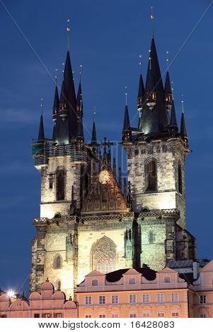 Tynsky church in Prague, Czech republic. poster