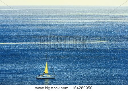 close up shot of the Sailboat in open sea