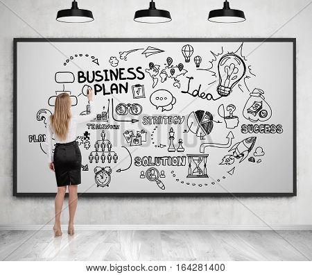 Blond woman in a suit drawing a business plan sketch on a whiteboard. Concept of strategic thinking. 3d rendering.
