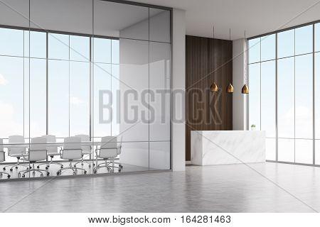 Corner Of Office, White Reception, Dark Wood, Lamps