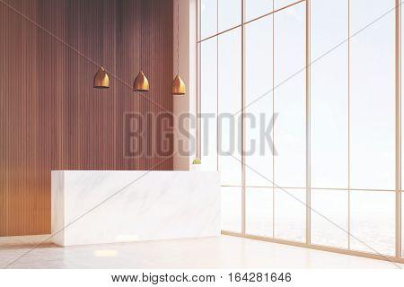 Corner Of Hall, White Reception Desk