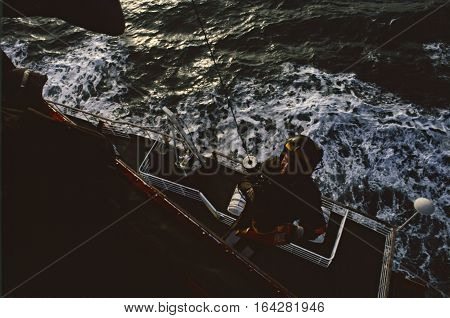 Uk English Channel - Dec 1993: The Winch Man Of A Raf 202 Squadron Sar Sea King Helicopter Is Winche