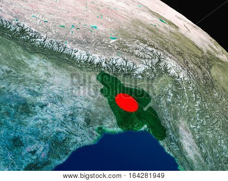 Flag Of Bangladesh From Space
