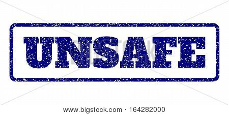 Navy Blue rubber seal stamp with Unsafe text. Vector caption inside rounded rectangular frame. Grunge design and dirty texture for watermark labels. Horisontal sticker on a white background.