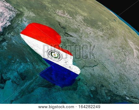 Flag Of Paraguay From Space