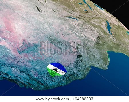 Flag Of Lesotho From Space