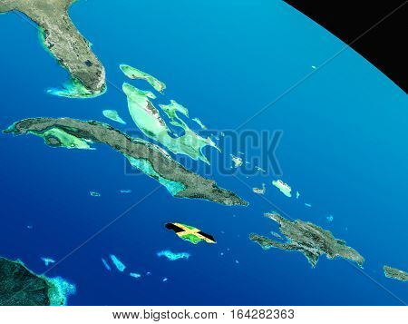 Flag Of Jamaica From Space