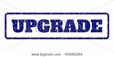 Navy Blue rubber seal stamp with Upgrade text. Vector tag inside rounded rectangular shape. Grunge design and dust texture for watermark labels. Horisontal sign on a white background.