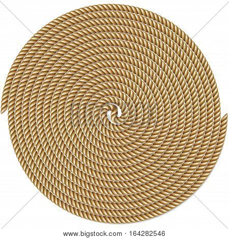 Coiled rope in circle pattern background isolated on white