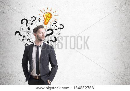 Confident Businessman And Questions, Light Bulb
