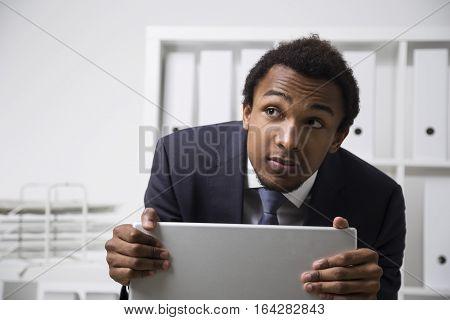 Shy African American Clerk