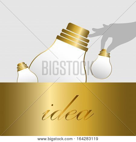Grab Gold bulb idea background. Business idea background- vector.