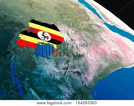 Flag Of Uganda From Space