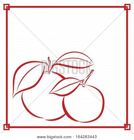 graphic design editable for your design, hand drawn symbolic fruit with red color Asia style frame on white background. Vector Illustration.