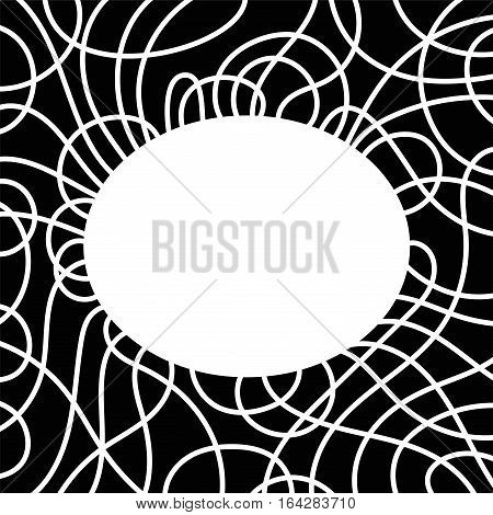 Frame and border with white ellipse and overlapping lines. Decorative ornament and template artwork with space for text or images. Isolated black illustration on white background. Vector.