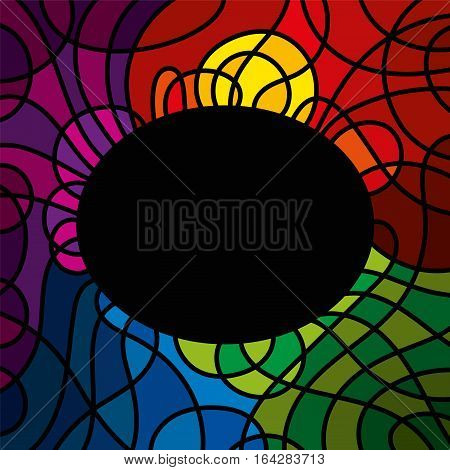 Landscape leadlight illustration with abstract sunset, meadow and water in bright colors. Romantic evening mood tiffany style artwork. Template with black ellipse as space for text or images. Vector.