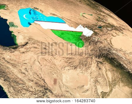 Flag Of Uzbekistan From Space