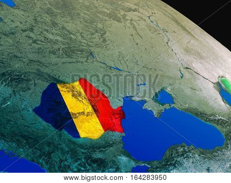 Flag Of Romania From Space