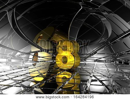 number eight in abstract futuristic space - 3d rendering