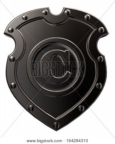 copyright symbol on metal shield on white background - 3d illustration