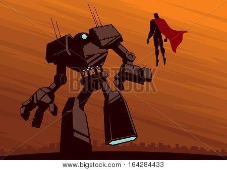 Illustration of superhero facing a giant robot.