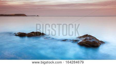 Long exposure of a Peacefull beach in cornwall