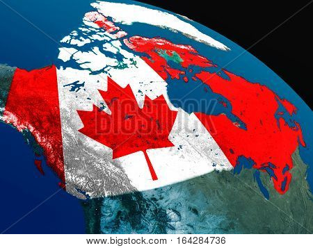 Flag Of Canada From Space