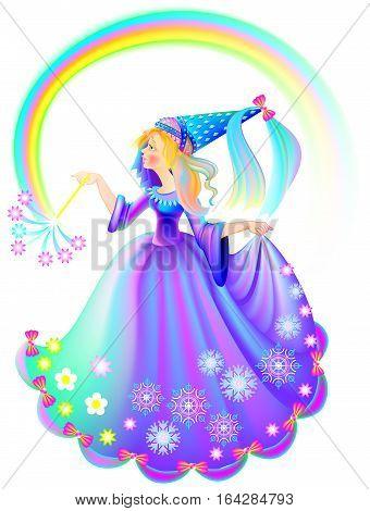 Illustration of beautiful medieval princess holding magic wand, vector cartoon image.