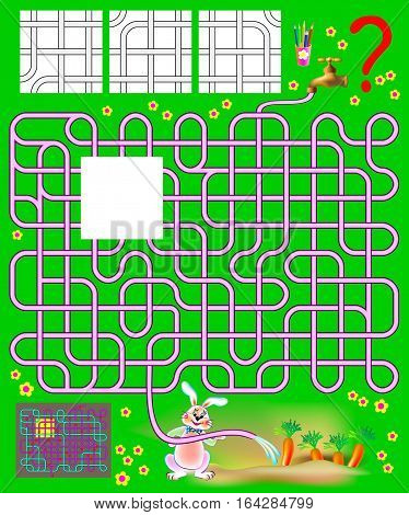Logic puzzle with labyrinth. Need to find the only one correct piece and draw the pipes so the rabbit will be able to water the the garden. Vector image.