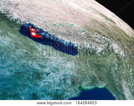 Flag Of Nepal From Space