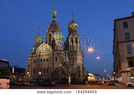 Russia Saint Petersburg Church of the Savior on Blood at night
