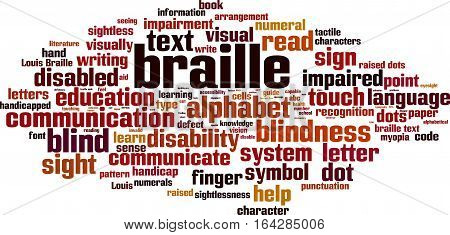 Braille word cloud concept. Vector illustration on white
