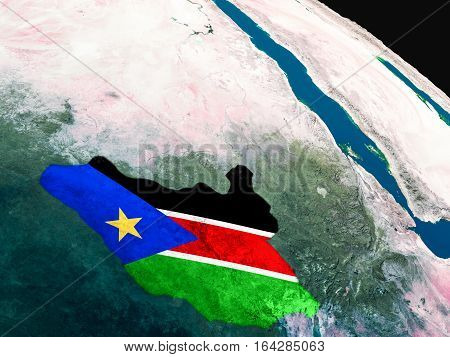 Flag Of South Sudan From Space