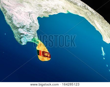 Flag Of Sri Lanka From Space
