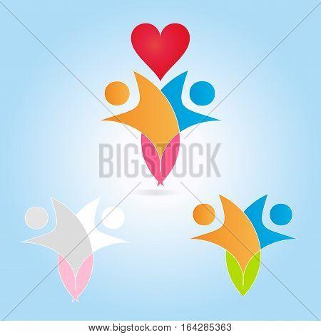 logo love Red - heart - vector logo concept illustration in flat style design. Heart logo sign. Valentine's Day concept sign. Red heart and design elements. Love logo sign. Medicine logo. Healthcare logo