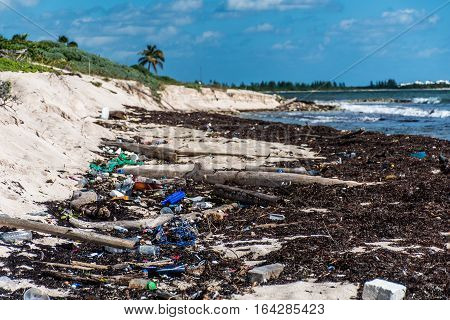 Mexico Coastline ocean Pollution Problem with plastic litter