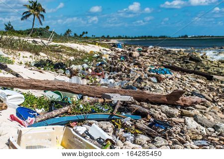 Mexico Coastline ocean Pollution Problem with plastic litter 4