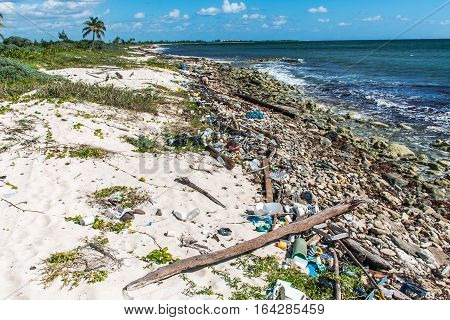 Mexico Coastline ocean Pollution Problem with plastic litter 5