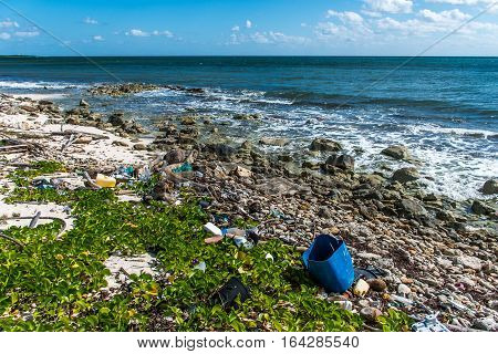 Mexico Coastline ocean Pollution Problem with plastic litter 9