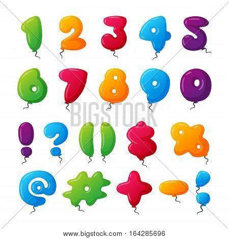 English balloon colorful numbers on white background. Holidays and education ozone type. Greeting helium cartoon festive decoration vector illustration.