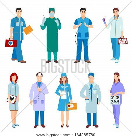 Vector illustration of a man and woman in blue coat. Flat style different doctors characters. Professional cartoon pediatrician medical human worker.