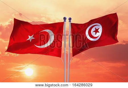 TUNISIA Flag with Turkey flag, 3D rendering