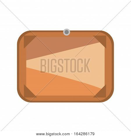 Brown wooden signboard plate plank and dark frame on white background. Empty object directional space rustic design. Information post retro nature placard vector.