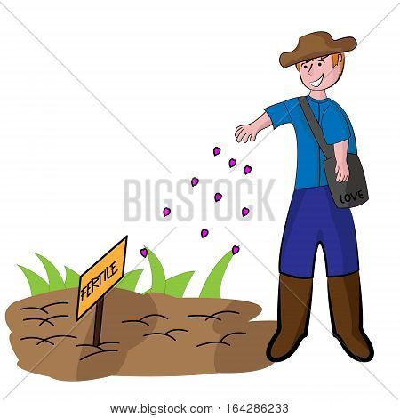 Young Farmer Seeding Love Seeds to the Fertile Soil Cartoon. Vector Illustration.