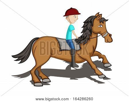 Man Riding Horse Cartoon. Vector Illustration Isolated on White.